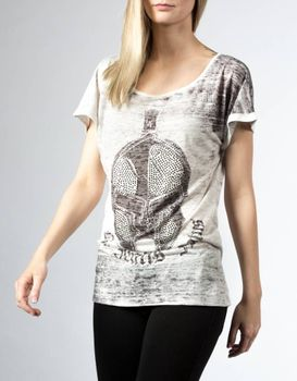 DIS IRATIS NATUS (D.I.N.) Damen T-Shirt Gladiator Top Flame Helm bling kurzarm oversize 001
