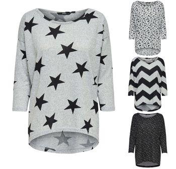 ONLY Damen Oversize Pullover Shirt onlELCOS 4/5 AOP TOP NOOS Strick Sterne Zigzag Feder 001