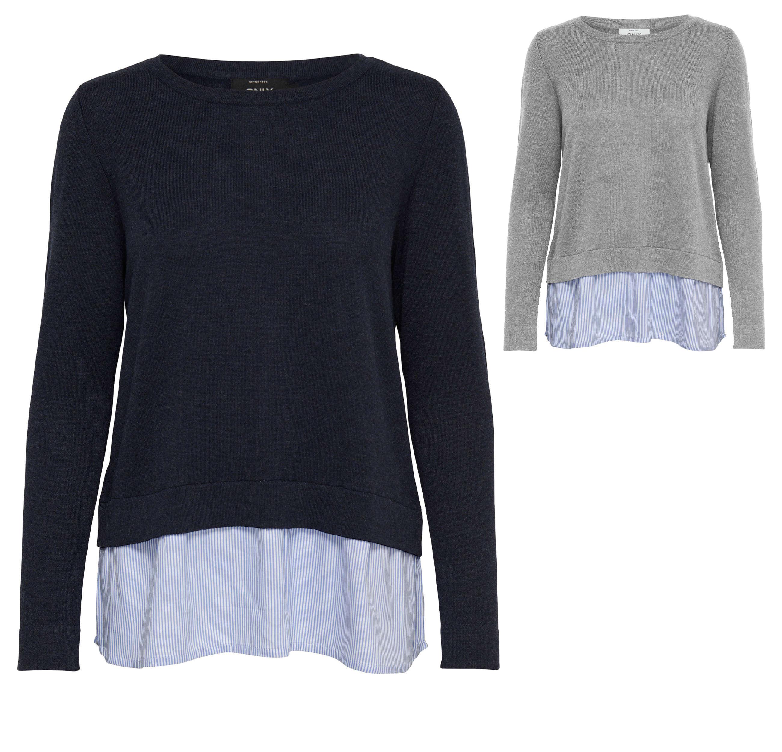 online retailer c0cca acb93 ONLY Damen Strickpullover onlNEW OXFORD L/S PULLOVER Strick Lagenlook blau  grau