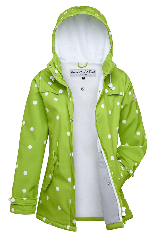new product 08908 7462c AMUNDSENS FJELL Damen Softshell-Jacke Mantel FRIDA Parka Kurzmantel Punkte  grün