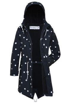 AMUNDSENS FJELL Damen Softshell-Mantel GURRI Parka Jacke Übergang Punkte schwarz 001