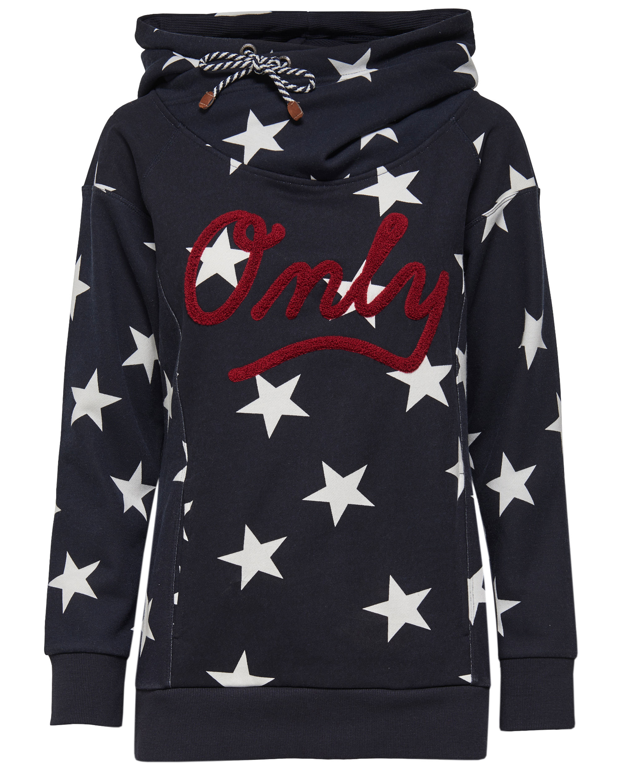 c837a87be130 ONLY Damen Sweatshirt Pullover onlAWESOME Sterne Blitze Hoodie Kapuze
