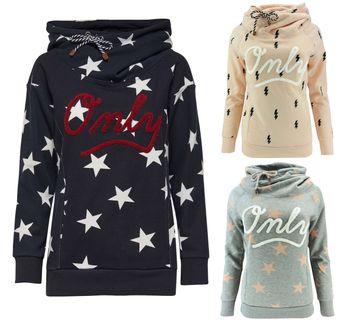 ONLY Damen Sweatshirt Pullover onlAWESOME Sterne Blitze Hoodie Kapuze 001