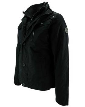CROSSHATCH Herren Übergangsjacke Jacke WOODROW CH PRNT COLLAR Parka schwarz – Bild 4