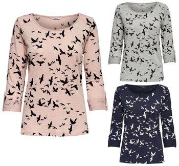 ONLY Damen Pullover Shirt onlJESS 3/4 BIRDS TOP Vogel Schwalben