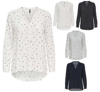ONLY Damen Bluse Hemd Tunika onlFIRST LS POCKET AOP SHIRT NOOS Sterne Punkte 001