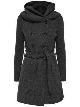 ONLY Damen Wollmantel Mantel onlLISA HS LONG WOOL COAT CC OTW Kapuze Jacke Übergang – Bild 2