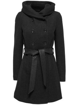 ONLY Damen Wollmantel Mantel onlLISA HS LONG WOOL COAT CC OTW Kapuze Jacke Übergang – Bild 7