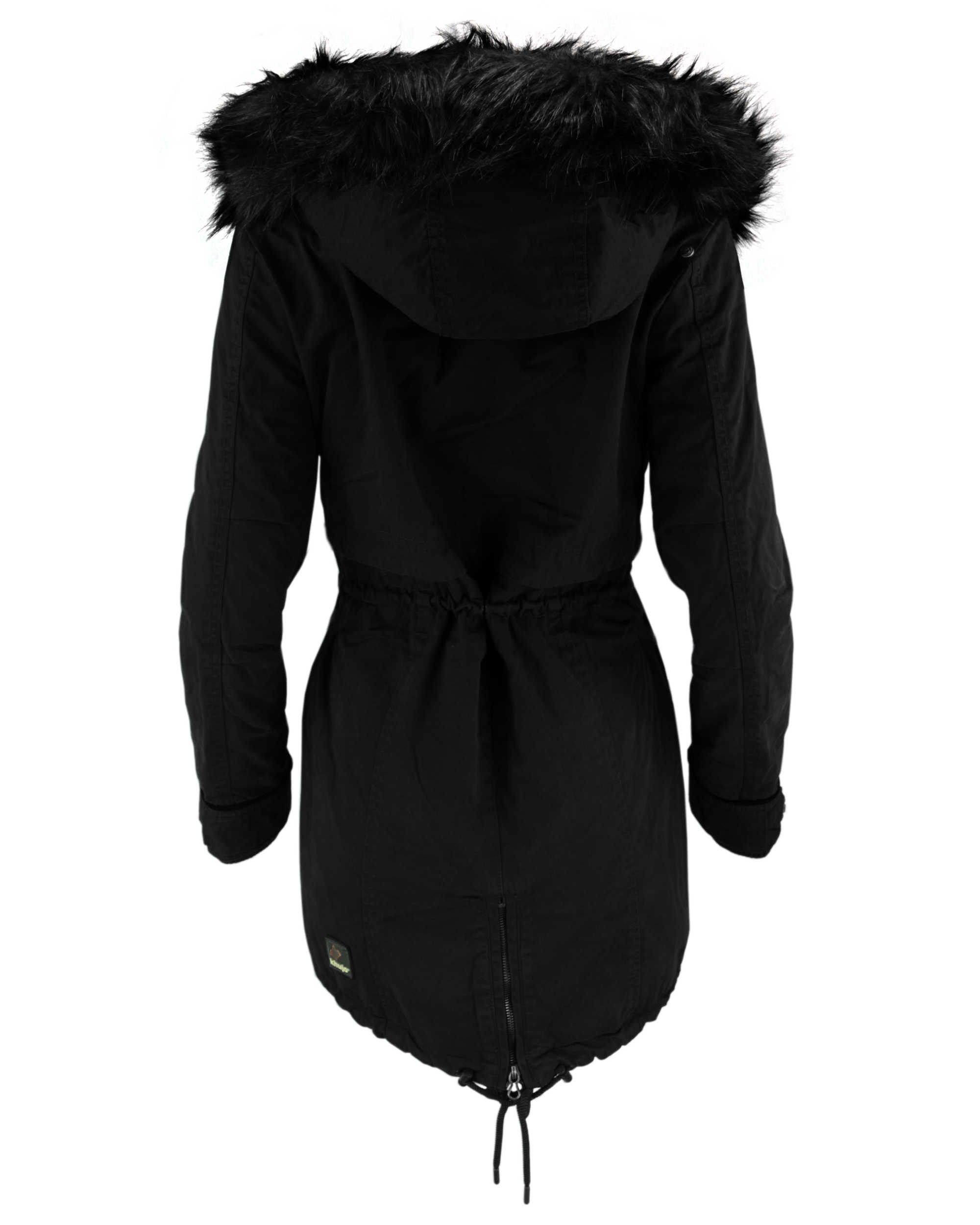 reputable site b3fdf 775a3 KHUJO Damen Wintermantel Mantel Jacke FREJA Winter Parka schwarz Kapuze Fell