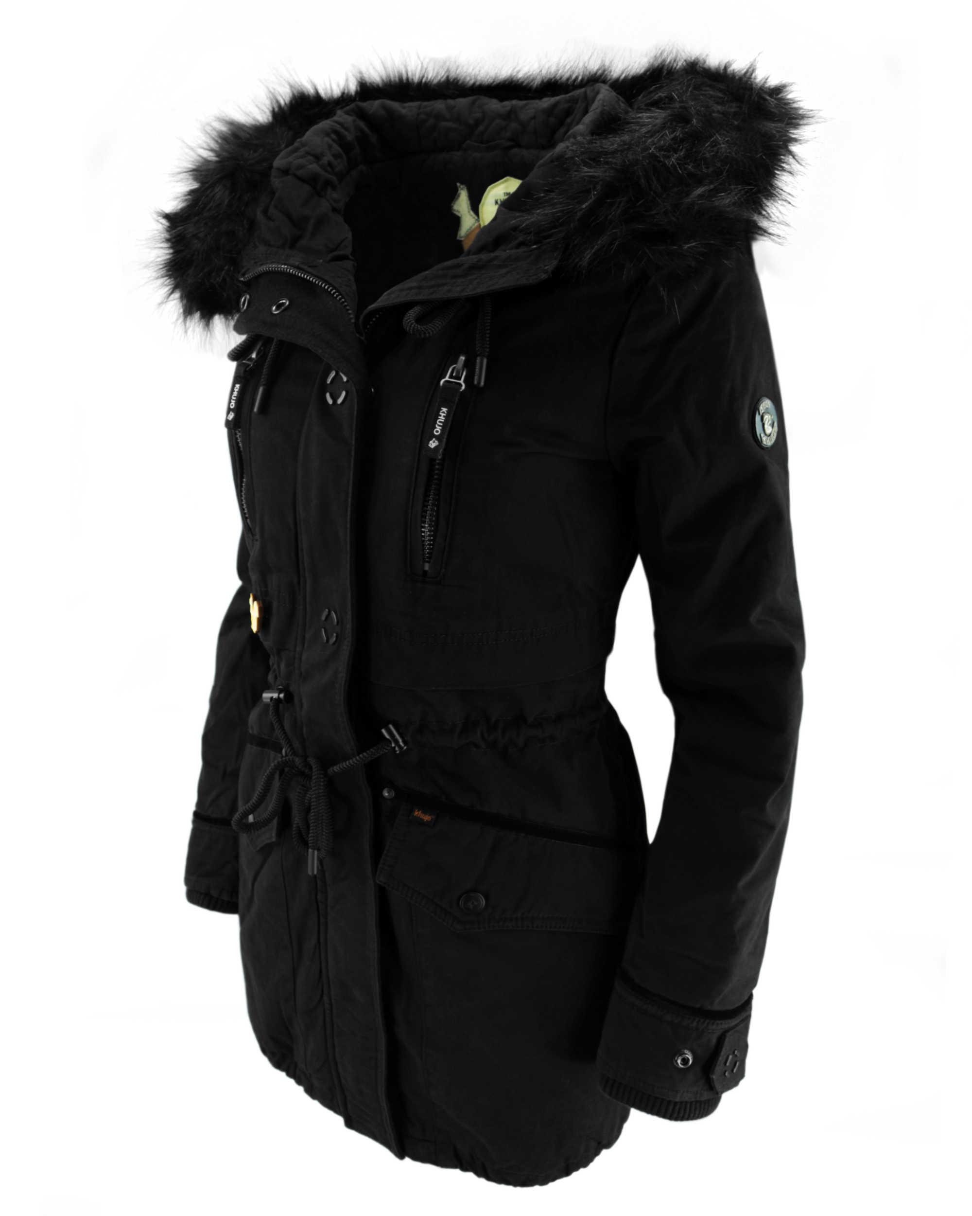 Details für abholen niedrigster Rabatt KHUJO Damen Wintermantel Mantel Jacke FREJA Winter Parka schwarz Kapuze Fell