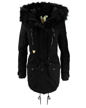 KHUJO Damen Wintermantel Mantel Jacke FREJA Winter Parka schwarz Kapuze Fell