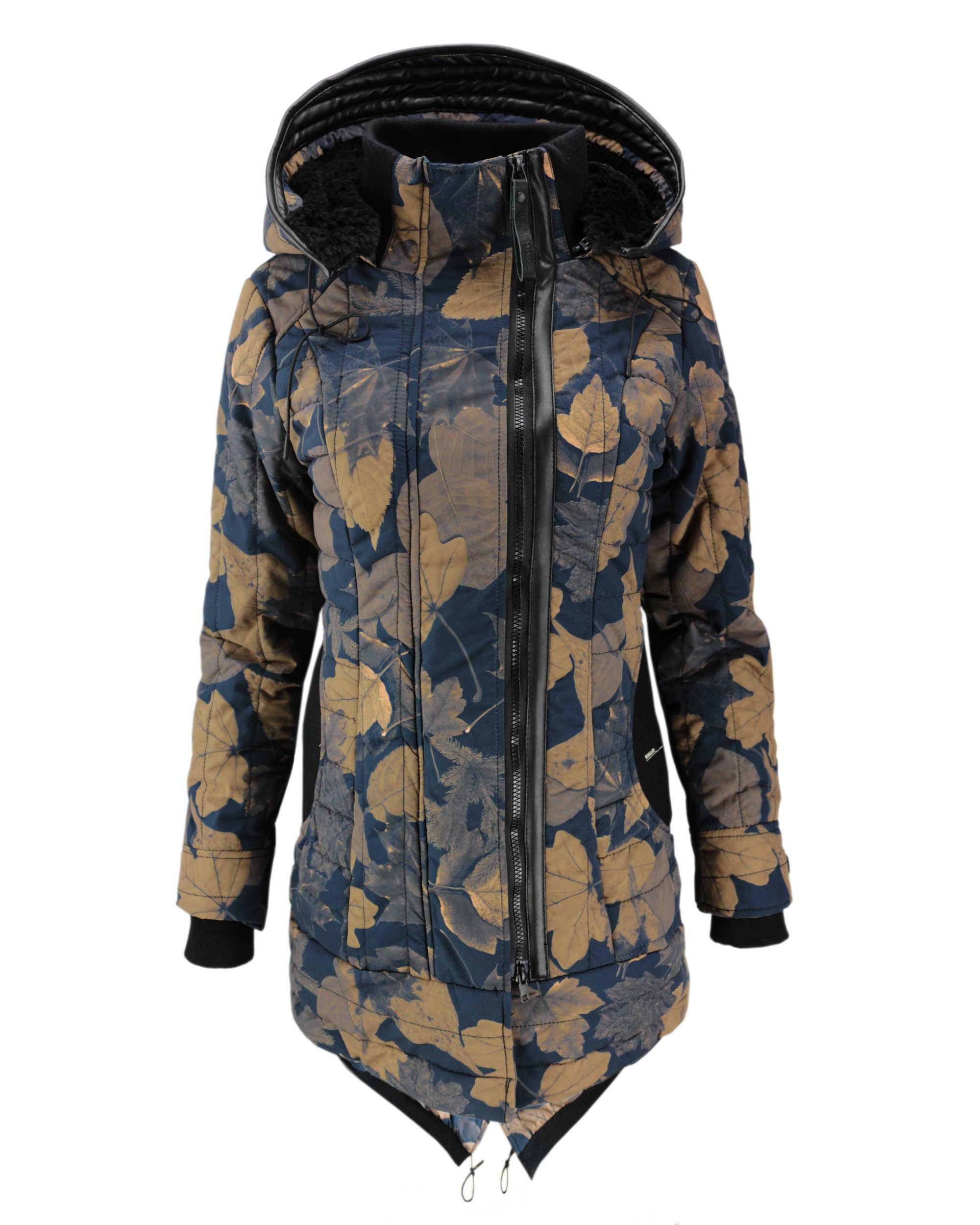 official photos 5d5a2 dd031 KHUJO Damen Winterjacke Jacke Mantel CAYUS Winter Parka Kapuze  Allover-Print Blätter