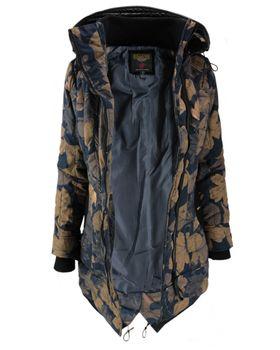 KHUJO Damen Winterjacke Jacke Mantel CAYUS Winter Parka Kapuze Allover-Print Blätter  – Bild 3