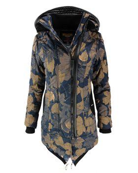 KHUJO Damen Winterjacke Jacke Mantel CAYUS Winter Parka Kapuze Allover-Print Blätter  – Bild 1