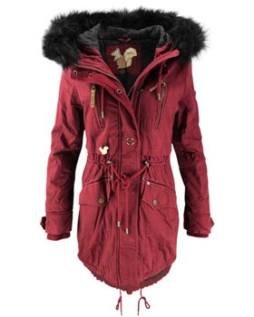 KHUJO Damen Wintermantel Mantel Jacke FREJA Winter Parka weinrot Kapuze Fell 001