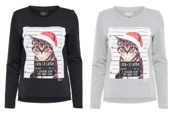 ONLY Damen Sweatshirt onlDEER L/S O-NECK SWT Katze Pullover Shirt 001