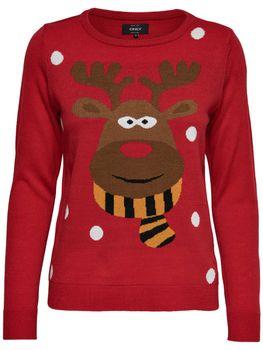 ONLY Damen Strick Pulli Pullover onlX-RED NOSE L/S PULLOVER KNT Weihnachten Elch – Bild 2