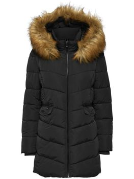ONLY Damen Winterjacke Mantel Stepp-Jacke onlSANNA LONG QUILTED COAT Kunstfell – Bild 2