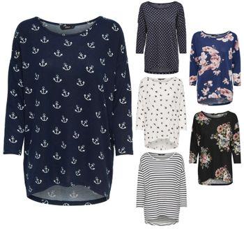 ONLY Damen Oversize Pullover Shirt onlELCOS 4/5 AOP TOP NOOS Strick Anker Punkte Blumen Vögel Streifen – Bild 1