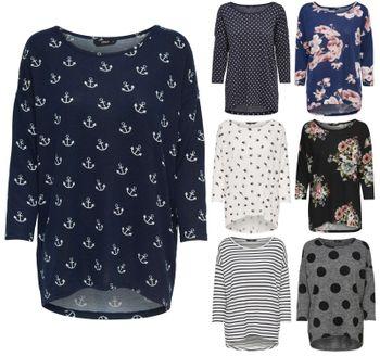 ONLY Damen Oversize Pullover Shirt onlELCOS 4/5 AOP TOP NOOS Strick Anker Punkte Blumen Vögel Streifen 001