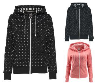 ONLY Damen Sweatjacke Jacke onlFINLEY L/S ZIP HOOD SWT Hoodie Kapuze Punkte – Bild 1