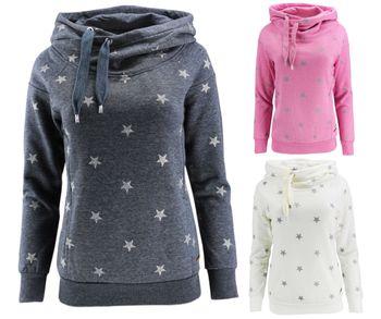 ONLY Damen Sweatshirt Pullover onlJALENE STAR HOOD Sterne Hoodie Kapuze