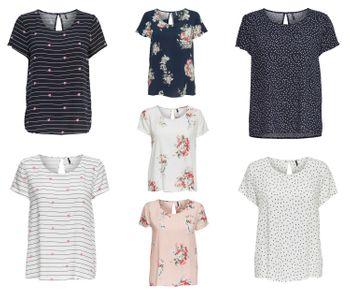 ONLY Damen T-Shirt Bluse onlFIRST SS MIX AOP TOP NOOS Tunika Sterne Streifen Herzen Blumen