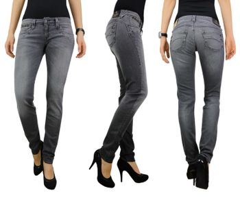 HERRLICHER Damen Jeans PIPER SLIM 5650 DB922 720 dark ash Denim Black Stretch grau 001