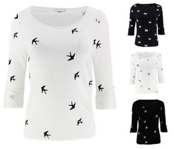 ONLY Damen Pullover Shirt onlJESS 3/4 WINGS ANCHOR TOP Vögel Anker Schmetterling