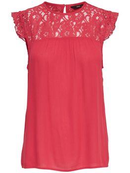 ONLY Damen Bluse Tunika Shirt onlKARMEN S/L TOP WVN NOOS Spitze Sommertop color mix – Bild 2