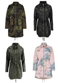 ONLY Damen Übergangs-Mantel Jacke onlJASMIN OVERSIZED AOP PARKA OTW Kurzmantel 001