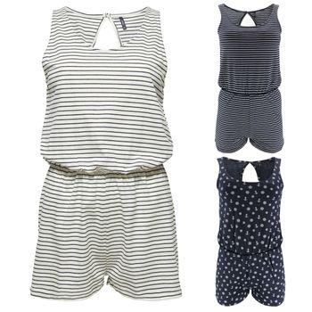 ONLY Damen Overall Jumpsuit onlCARLA S/L PLAYSUIT JRS kurz ärmellos weiß blau Anker Streifen 001