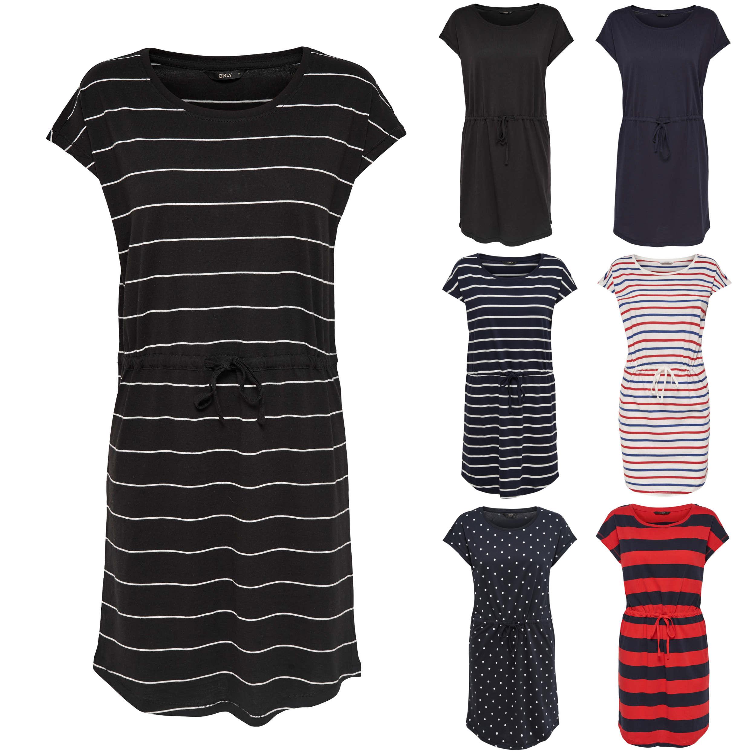 318045e14be9 ONLY Damen Kleid onlMAY S/S DRESS NOOS kurzarm Sommerkleid Shirtkleid  Streifen Punkte