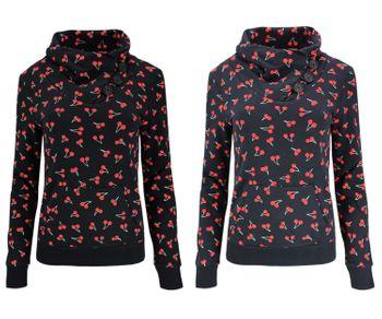 ONLY Damen Sweatshirt Sweat-Pullover onlPIP NADINE L/S CHERRY AOP SWT CS Kirschen