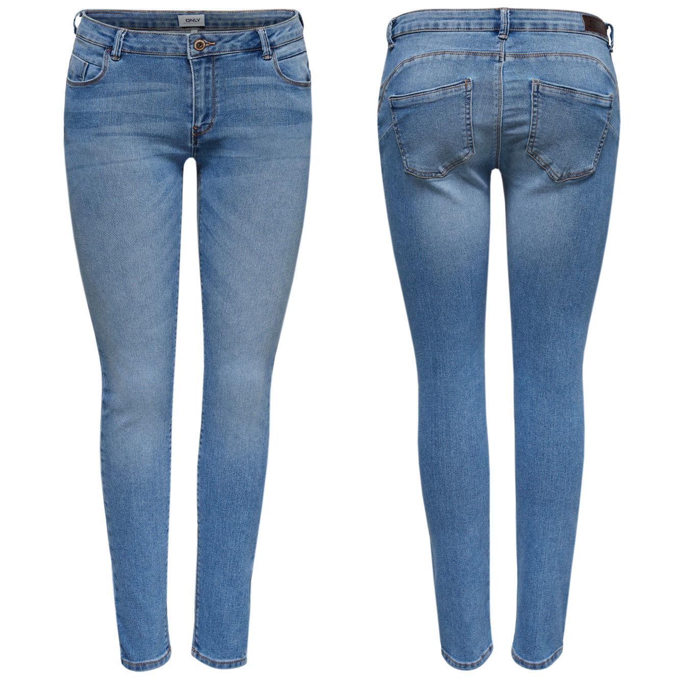 a41a48146245 ONLY Damen Jeans Hose onlDYLAN LOW SK ANK PUSHUP skinny denim mittelblau  knöchelfrei