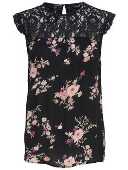 ONLY Damen Bluse Tunika Shirt onlKARMEN S/L TOP AOP WVN NOOS Spitze Sommertop Blumen – Bild 1