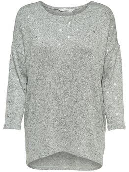 ONLY Damen Oversize Pullover Shirt onlMELIA 3/4 TOP JRS NOOS Feinstrick grau Sterne – Bild 2