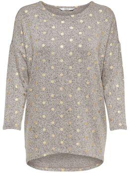 ONLY Damen Oversize Pullover Shirt onlMELIA 3/4 TOP JRS NOOS Feinstrick grau Sterne – Bild 3