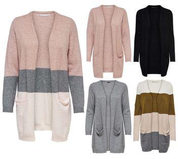 ONLY Damen Strickjacke Jacke onlQUEEN L/S LONG CARDIGAN KNT NOOS rosa grau schwarz Streifen 001