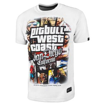 PIT BULL WEST COAST Herren T-Shirt PB MOST WANTED weiß California rundhals – Bild 1