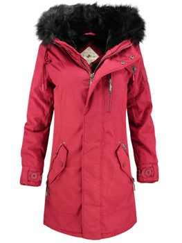 KHUJO Damen Wintermantel Mantel Jacke BABETTE Winter Parka rot Kapuze Fell