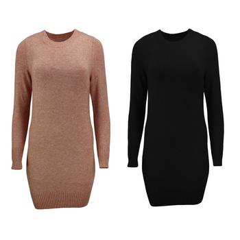 ONLY Damen Strickkleid Kleid Strick Long Pullover onlQUEEN L/S DRESS KNT rosa schwarz 001