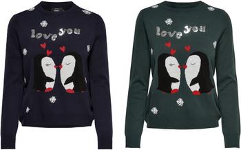 ONLY Damen Strickpullover Pulli Shirt onlX-MAS LOVE PENGUL/S PULLOVER KNT Weihnachten Winter 001