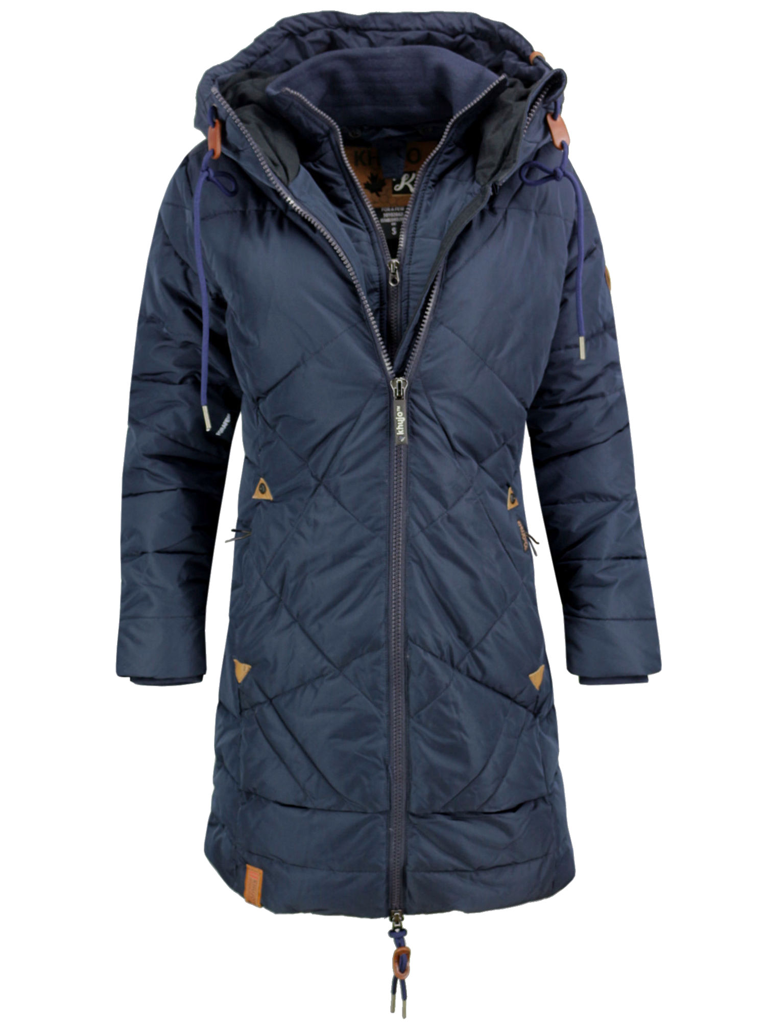 sports shoes 3c6a5 d1be3 KHUJO Damen Wintermantel Steppmantel Mantel Jacke ANNABELL Winter Parka  Kapuze blau
