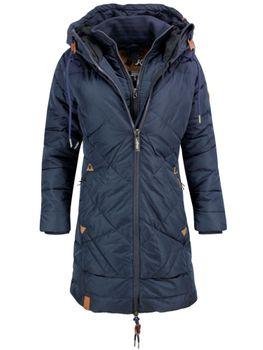 KHUJO Damen Wintermantel Steppmantel Mantel Jacke ANNABELL Winter Parka Kapuze blau