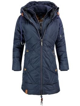 KHUJO Damen Wintermantel Steppmantel Mantel Jacke ANNABELL Winter Parka Kapuze blau 001