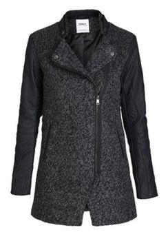 ONLY Damen Wollmantel Mantel Jacke onlPIPER LONG WOOL BIKER Coat Jacket Übergang