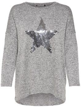ONLY Damen Oversize Pullover Shirt onlMELIA 3/4 STAR TOP Feinstrick Stern Pailletten 001