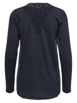 ONLY Damen Spitze Strick-Pullover Langarm Shirt onlNINA ELCOS LACE TOP vokuhila blau grau – Bild 2