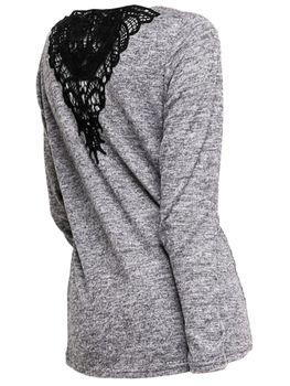 ONLY Damen Spitze Strick-Pullover Langarm Shirt onlNINA ELCOS LACE TOP vokuhila blau grau – Bild 4